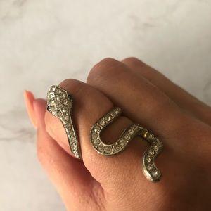 Snake ring with rhinestones